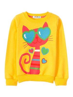 """Толстовки для девочек """"Yellow cat"""", цвет Желтый"""