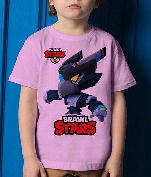 Детская футболка для девочки темный ворон меха brawl stars (браво старс), цвет розовый
