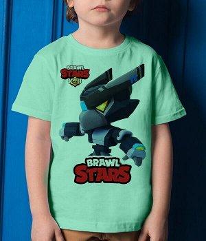 Детская футболка для девочки темный ворон меха brawl stars (браво старс), цвет ментол