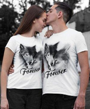 Парные футболки для двоих влюбленные волки (комплект 2 шт.)