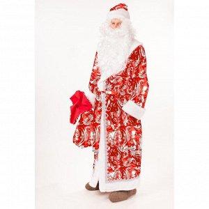 """Костюм """"Дед Мороз"""", шуба, шапка, борода, мешок, пояс, варежки, размер 176-54-56"""