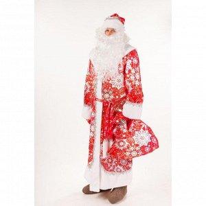 """Костюм """"Дед Мороз Морозко"""", шуба, шапка,борода, варежки, мешок, пояс, размер 182-54-56"""
