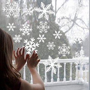 Наклейка новогодняя, снежинки