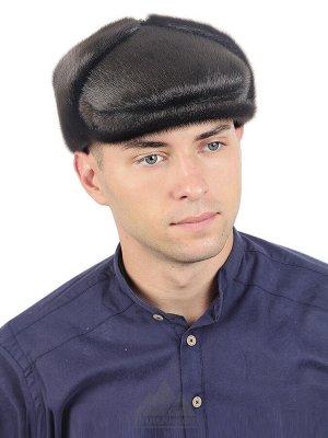 Нерповая кепка-ушанка с кожаным отворотомШелдон