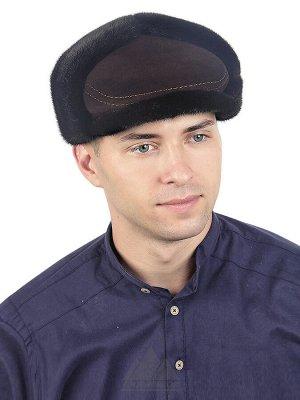 Зимшевая кепка-ушанка с мехом норкиМарис