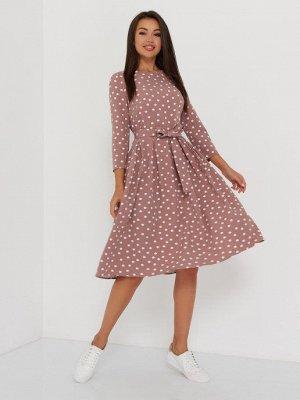 Платье встречная складка, бежевый крупный горох