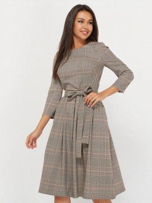 Платье клетка, складка, бежево-коричневый