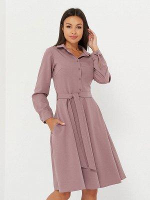 Платье-рубашка короткая, лиловый однотонное