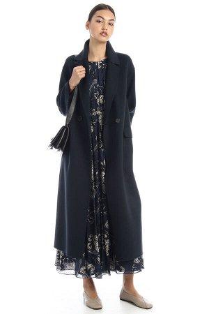 Пальто Colore: BLU SCURO Tessuto 100% lana vergine; - escluso filo di legatura; fodera in 100% seta.