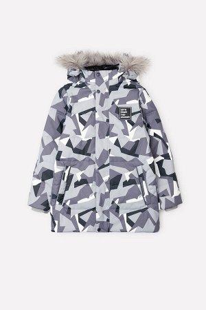 Куртка(Осень-Зима)+boys (серый, камуфляж из треугольников)