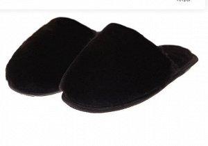 Тапочки из овчины черные на резиновой подошве
