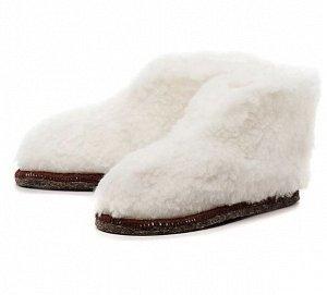 Чуни из овечьей шерсти белые на подошве из микропоры