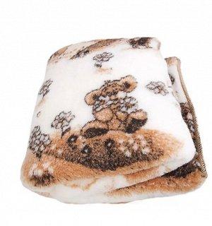 Одеяло из овечьей шерсти детское «Тедди» 140х110 белое с рисунком