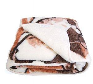 Одеяло из овечьей шерсти 180x200 с коричневым рисунком