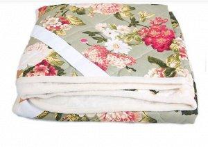 Одеяло из овечьей шерсти «Цветы» 200x220 с покрытием поликоттон