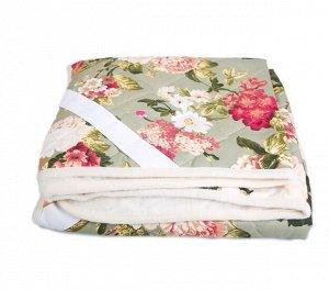Одеяло из овечьей шерсти «Цветы» 145x200 с покрытием поликоттон
