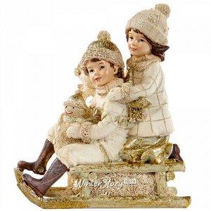 Новогодняя статуэтка Малыши со снеговиком на санках 12 см (Goodwill)