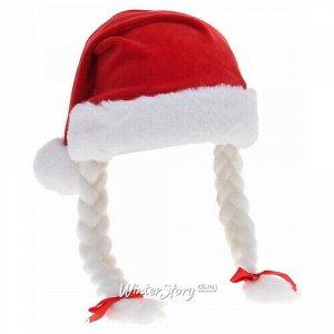 Новогодняя шапка с косичками Внучка Мороза, для взрослых (Koopman)