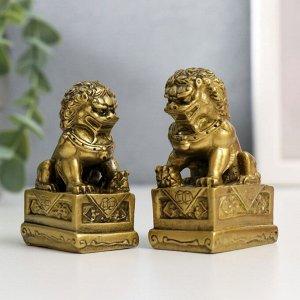 """Нэцкэ под бронзу (набор 2шт) """"Собаки Фу"""" (китайские львы Будды)"""