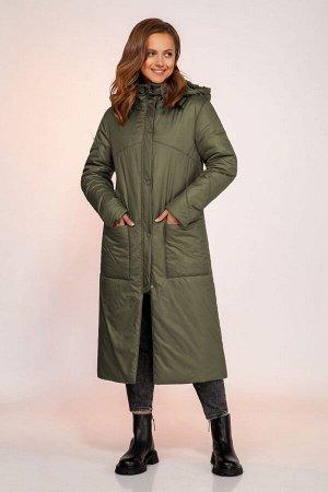 Пальто Пальто DilanaVIP 1750 олива  Состав: ПЭ-100%; Сезон: Осень-Зима Рост: 164  Пальто женское, прямого силуэта, длинной ниже колена, с капюшоном.Спинка со средним швом. Перед с отрезными кокетками