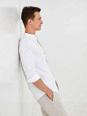 Рубашка мужская с воротником-стойкой