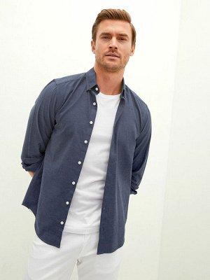 Мужская сорочка приталенная с длинным рукавом