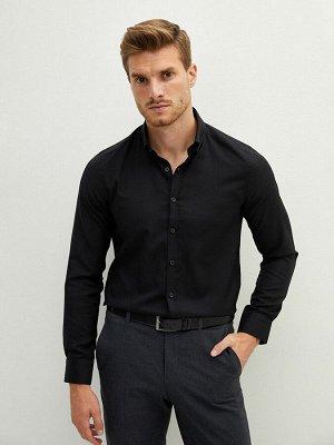 Мужская приталенная рубашка из ткани Оксфорд