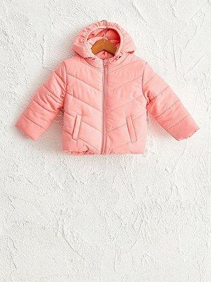 Куртка для девочки с капюшоном однотонная