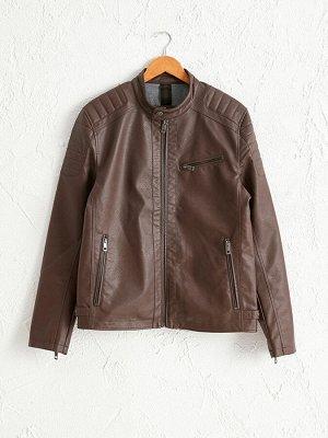 Короткая куртка из искусственной кожи