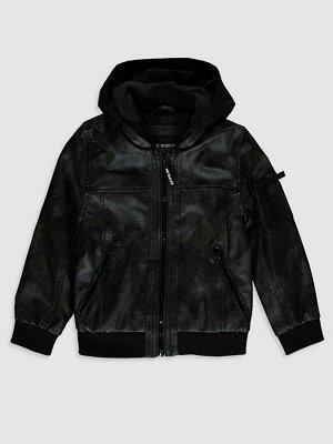 Кожаная куртка для мальчика с капюшоном