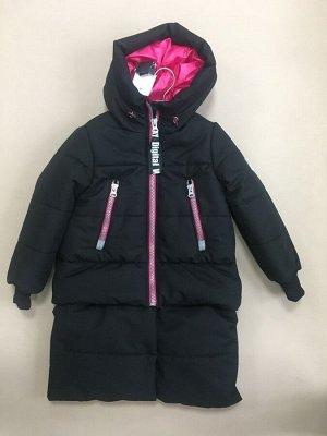 101428/1 (черный) Пальто для девочки