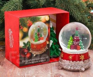 """Снежный стеклянный шар """" Новогодний набор"""""""