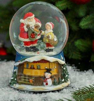 "Снежный стеклянный шар новогодний "" Дед Мороз дарит подарки"""
