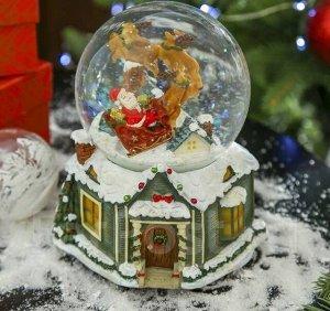 """Снежный шар новогодний """" Дед мороз и олени"""", музыка, вращение, снег"""
