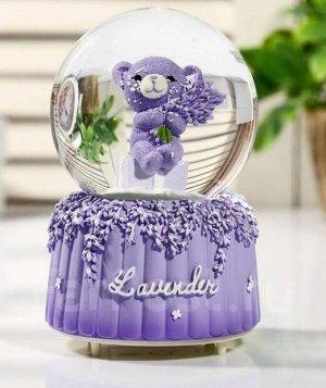 """Снежный стеклянный шар """"Лавандовый мишка"""""""