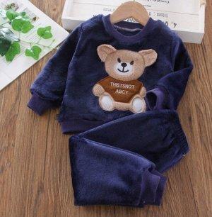 """Детский плюшевый костюм (кофта+штаны), принт """"мишка"""", цвет темно-синий"""