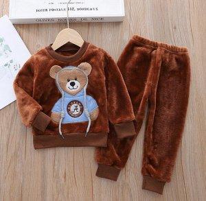 """Детский плюшевый костюм (кофта+штаны), принт """"мишка в шапке"""", цвет коричневый"""