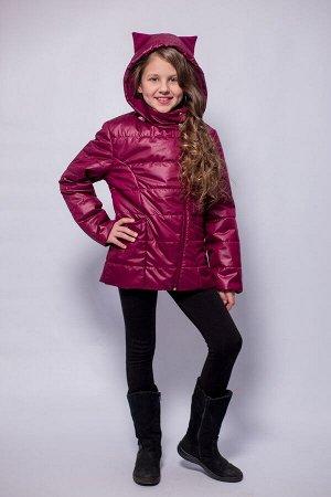 Детская Демисезонная Куртка с ушками на капюшоне Расцветка Вишня