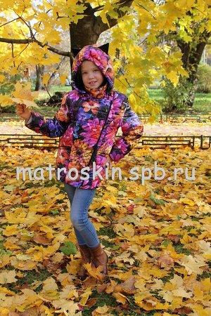 Детская Демисезонная Куртка с ушками на капюшоне Расцветка Цветы