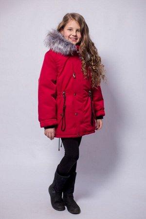 Детская Зимняя Куртка-Парка расцветка Гранат