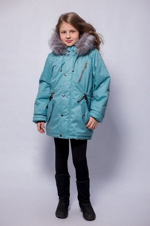 Детская Зимняя Куртка-Парка расцветка Бирюза