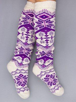 Гольфы шерстяные женские, снежинки, фиолетовые ромбики, молочный женский универсальный (разм: 36-40)