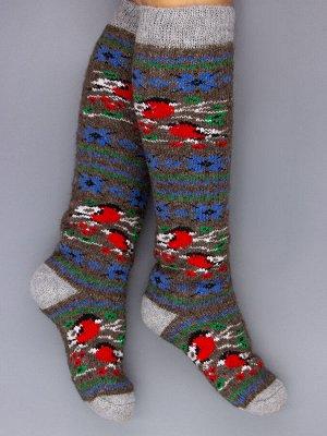 Гольфы шерстяные женские, снегири, голубые снежинки, коричневый женский универсальный (разм: 36-40)