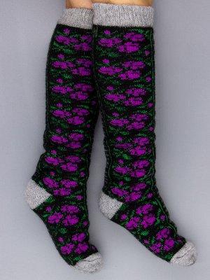 Гольфы шерстяные женские, фиолетовые цветочки, черный женский универсальный (разм: 36-40)