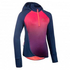 Толстовка с капюшоном для легкой атлетики для девочек AT 500 сине-розовая