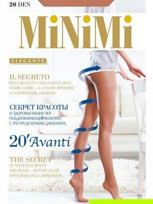 Колготки Эластичные поддерживающие колготки MiNiMi Avanti 20 den . Распределенное давление позволяет снизить нагрузку на ноги, они меньше устают, отекают, и выглядят более здоровыми. Усиленные шортики