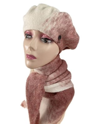 Комплект берет женский и шарф-косынка, цвет белый с розовым