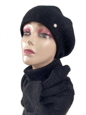 Комплект, берет женский с косынкой , цвет черный