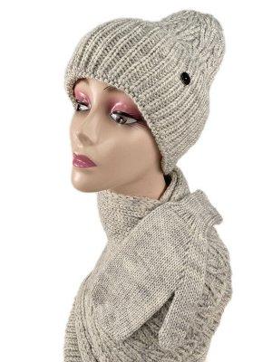 Комплект шапка женская, шарф и варежки, цвет бело серый