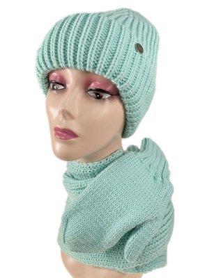 Комплект шапка женская, шарф и варежки, цвет светло зеленый